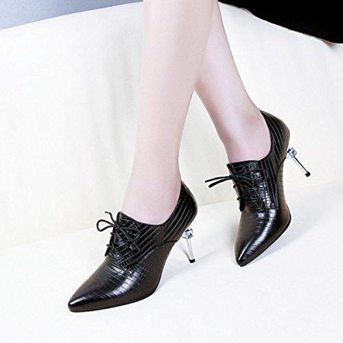 Damen Damenmode Leder High Heels Schuhe Bridal Riemchen Stöckelschuhe Stiletto Party Office Work Court Schuhe (schwarz Rot) Black