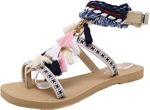 Abby 219 Womens Fashion Comfort Character Retro Ethnic Work Job Casual Flat Flip Flops Ankle Straps PU Sandals Skin n5FFL