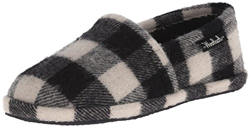 Woolrich Men's Chatham Chill Slipper, Black/White Buffalo Check Wool, 12 M US