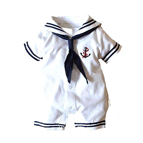 Dragon Honor Baby Boys Girls Sailor One Piece Bodysuit Navy Romper Outfit Clothes Neckerchief (S (0-6Months))]()