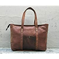 Pascado womens top handle large leather tote bag zippered purse shopping work bag