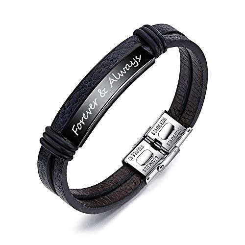 Personalized Black Leather and Steel Bracelet 7.6
