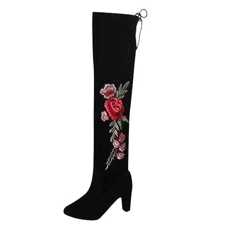 Stivali da Donna,YanHoo Donne Rose Ricamano Stivali Alti sopra sopra sopra Il   f950c8