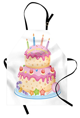 Ambesonne Kids Birthday Apron, Pastel Colored Birthday Party