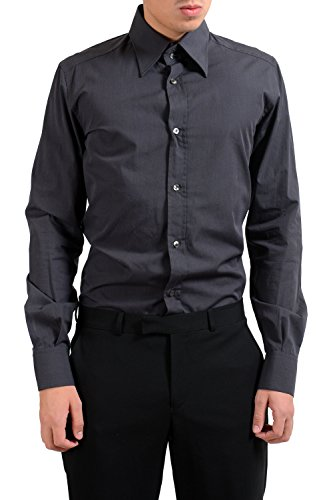 Dolce & Gabbana Dark Gray Men's Long Sleeve Dress Shirt US 15.75 IT 40