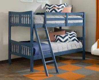 Bunk Beds for Kids Toddler Twin Solid Hardwood Navy Your Child Will Sleep in Style and Great Solution for Your Space Saving Needs by HomeTeks