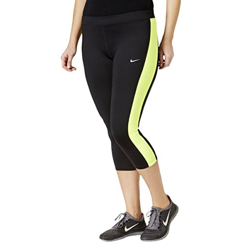 NIKE Womens Plus Color Block Cropped Yoga Legging Black 3X