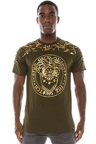 - Mens Hip Hop Gold Foil Graphics W/Razor Slashes on Sleeves Olive T-Shirt XL
