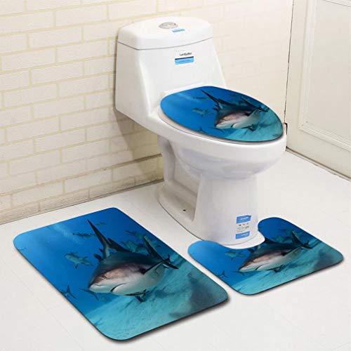 MTSJTliangwan Home Bathroom 3 Piece Sets, Included Bath Area Rug+Contour Mat+Lid Toilet Seat Cover Caribbean Reef Shark in The Bahamas Flannel -