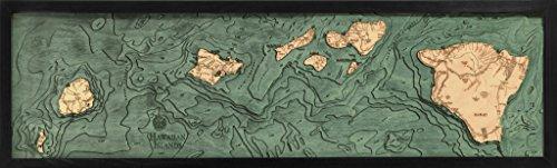 Hawaiian Islands (all of them), Hawaii 3-D Nautical Wood Chart, 13.5