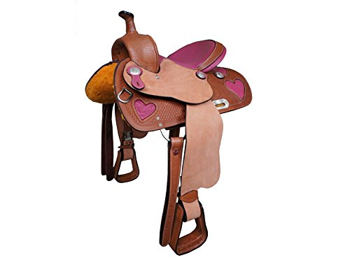 Tahoe Ostrich Print Hearts Barrel Saddle, Pink, 15