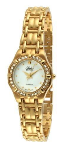 Swiss Edition Women's Luxury 23K Gold Plated Crystal Bezel Mother of Pearl Dial Dress Watch SE3805-L ()