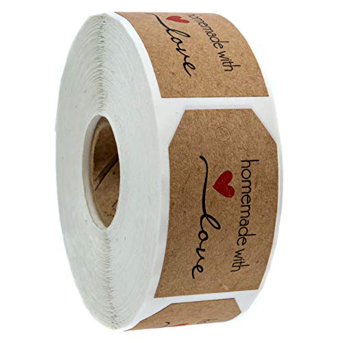 1.15x2 Inch Natural Kraft Homemade with Love Gift Tag Sticker / 500 Labels per roll
