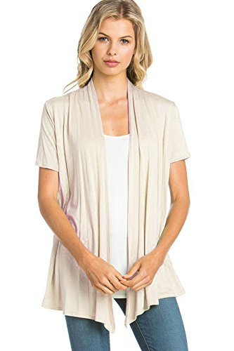 12 Ami Basic Solid Short Sleeve Open Front Cardigan Cream 2X