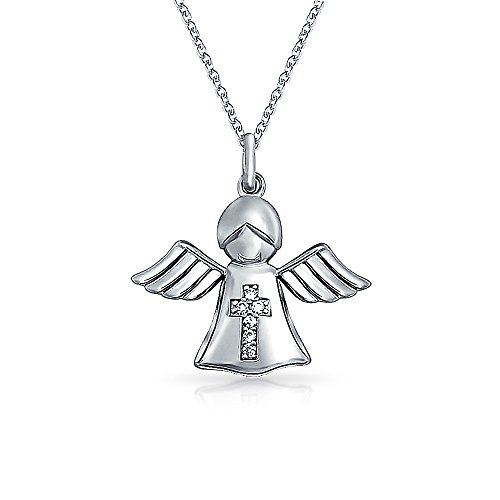 Tiny CZ Accent Cross Guardian Angel Pendant Necklace For Teen For Women Rose Gold Plated 925 Sterling Silver