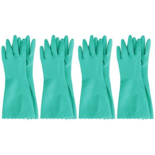 MJ 4 Pairs Household CNG PVC Soft Durable Cleaning Wash Gloves Green XL -