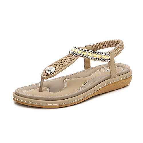 Wollanlily Bohemia Flat Sandals Summer Style Knitting T Strap Elastic Slip On Flip-Flop Casual Shoes(8 B(M) US,Beige 02)