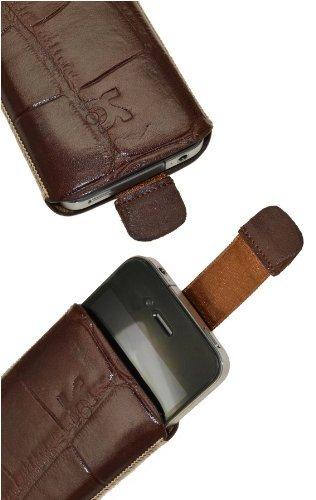 Original Suncase Echt Ledertasche (Lasche mit Rückzugfunktion) für iPhone 4 / iPhone 4S in croco-braun