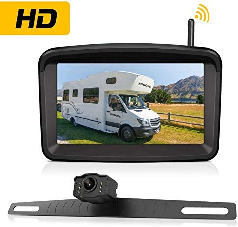 Wireless Backup Camera with 5 Monitor for Car Pickup Semi Box Truck Sedan Rv Van Camper Rearview License Plate HD Digital Signal Reverse Backing Up Cam Night Vision Waterproof Rear View for Reversing