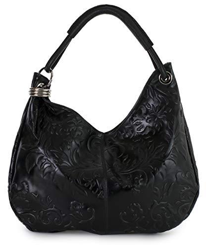 LIATALIA - Womens Girls Large Real Italian Suede Leather Single Strap Hobo Boho Slouch Handbag Purse - FIONA [Floral - Black]