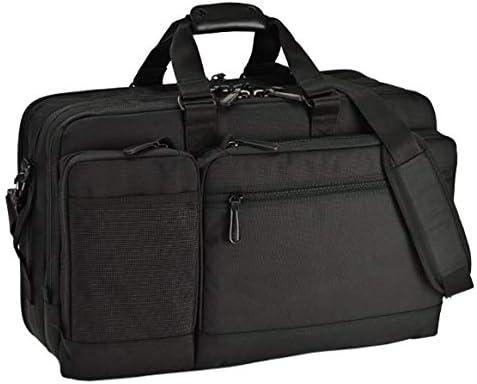 平野鞄 ビジネスバッグ ブリーフケース ビジネストラベルバッグ リュック メンズ A3 B4 3way 2室式 PC収納付き ガーメントバッグ ガーメントケース キャリーバー通し キャリースリーブ付き 大型 出張 黒 ブラック 横幅52cm +オリジナル高級ムートングローブ
