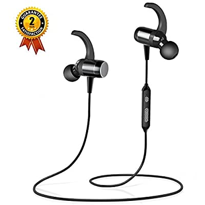 Wireless Earbuds, OldShark Stereo Bluetooth Headphones with Smart Magnetic Earbuds, IPX6 Waterproof Lightweight Sports Headset with Mic, Noise Cancelling Earphones for Running Workout Gym Black
