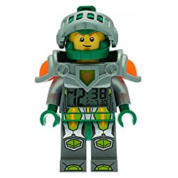LEGO Nexo Knights Aaron Kids Minifigure Light Up Alarm Clock | green/gray | plastic | 9.5 inches tall | LCD display | boy girl | official