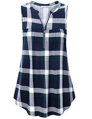 (Messic Summer Tops for Women Plus Size, Tunic Tank Tops Flowy for Women Ladies Casual Sleeveless Tunic Shirts Checked Plaid Zip Up Pleated Lightweight Tops Green Blue XL)