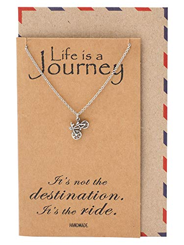 Quan Jewelry Mini Bicycle Necklace, Journey Traveler Pendant Charm, Gifts for Bestfriend Cyclists & Wanderlust, Minimal Dainty Necklaces, Fitness Jewelry with Quote Card (Best Gifts For Cyclists)