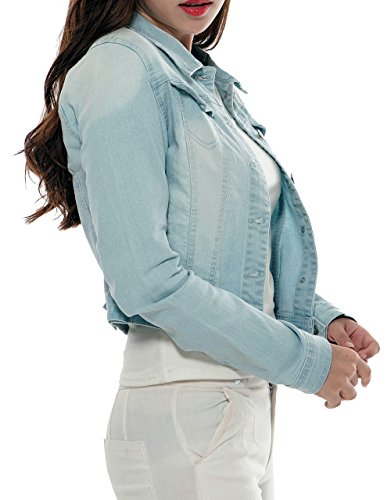PERHAPS U Women's Short Cropped Denim Jacket Button Front Long Sleeves Jean Jackets for Women (XX-Large, Light Blue) by PERHAPS U (Image #4)
