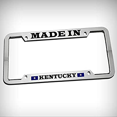 Made in Kentucky Zinc Metal Tag Holder Car Auto Novelty License Plate Frame Decorative Border - Chrome \ Silver Color Sign for Home Garage Office Decor