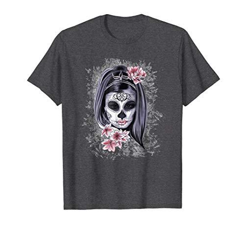 Mens Halloween Women Face Painted Art La Catrina Skull T-Shirt 2XL Dark Heather