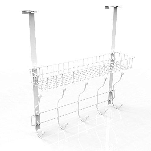 NEX Over the Door Hook Organizer Rack, Over Door Hanger with 5-Hook, An Extra Basket, Durable & Practical (White) by NEX