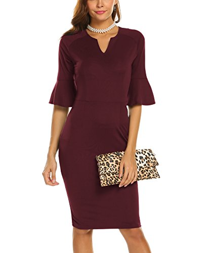Naggoo Women's Flare Sleeve Fitted Sheath Pencil Dress with Ruffle Detail(S, Wine ()