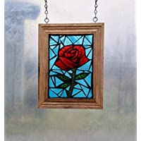 Red Rose Stained Glass Mosaic Suncatcher