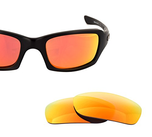 LenzFlip Replacement Lenses for Oakley FIVES SQUARED Sunglass - Gray Polarized with Fire Red Mirror Lenses -