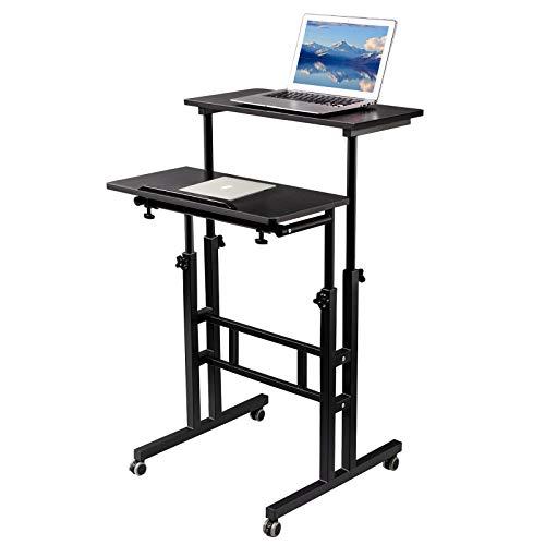SIDUCAL-Mobile-Standing-Desk-Rolling-Standing-Desk-Laptop-Cart-on-Wheels-Adjustable-Table-Computer-Workstation-Home-Office-for-Stand-Up-Black