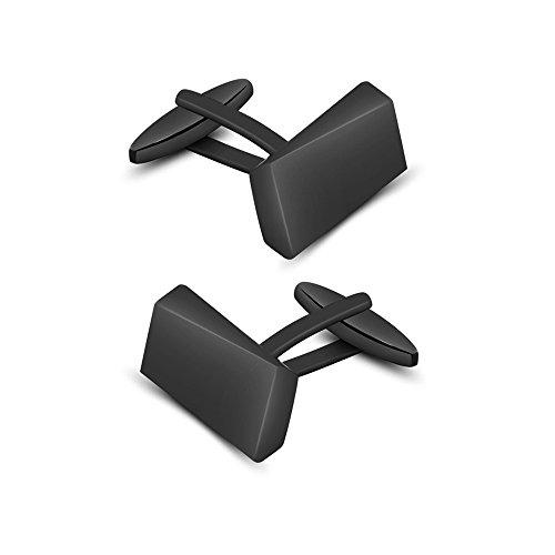 Merit Ocean Black Classic Cufflinks for Men Stainless Steel Wedding Business Gifts (Black Classic Cufflinks)