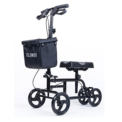 Best Value Knee Walker Steerable Medical Scooter Crutch Alternative with Dual Braking System Black