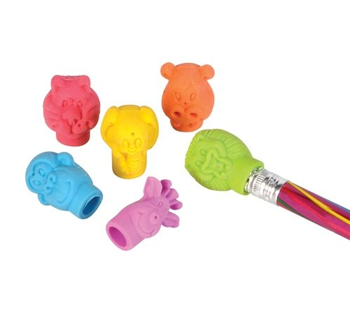 NEON ZOO ANIMAL PENCIL TOP ERASER, Case of 12