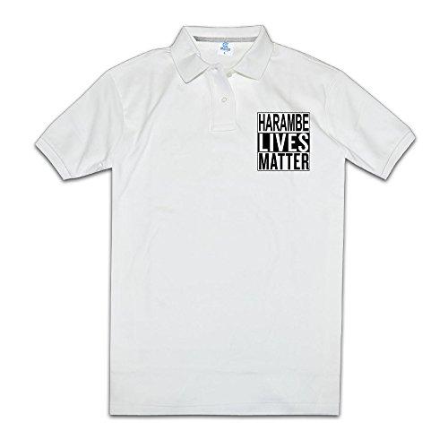 HARAM-BE LIVES MATTER Men Polo Style M White ()