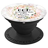God is Within Her Psalm 46:5 Rose Pink Marble Print Floral - PopSockets Grip and Stand for Phones and Tablets