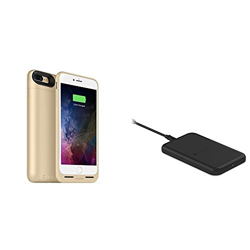 mophie juice pack wireless  - Charge Force Wireless Power - Wireless Charging Protective Battery Pack Case for iPhone 7 Plus – Gold plus mophie Charge Force Wireless Charging Base bundle by  (Image #1)