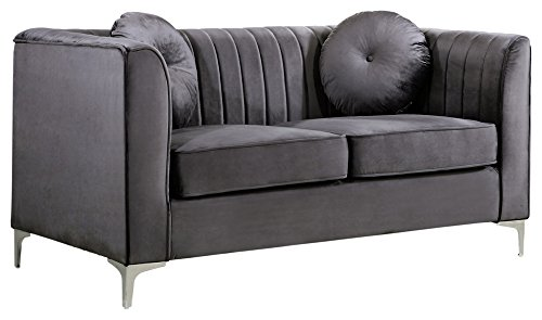 Meridian Furniture 612Grey-L Isabelle Channel Tufted Velvet Upholstered Loveseat with Custom Chrome Legs, Grey