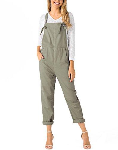 Bib Khaki - YOINS Overalls for Women Bib Baggy Denim Jumpsuit Adjustable Strap Loose Romper Khaki S