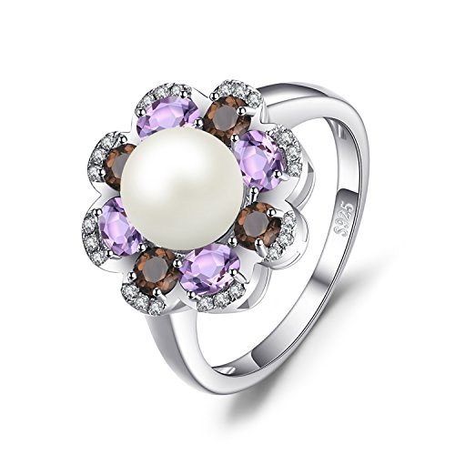 JewelryPalace 7mm Cultured Pearl 1ct Genuine Smoky Quartz Amethyst Cluster Ring 925 Sterling Silver Size 8