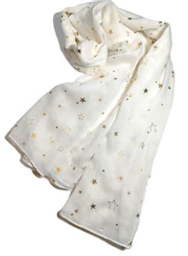 (Shanlin Cotton-Linen Fashion Scarves for Women (White-Golden Stars))