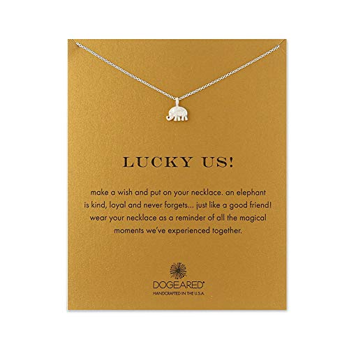 LANG XUAN Good Luck Elephant Pendant Friendship Chain Necklace with Meaning Card for Women Silver Gift