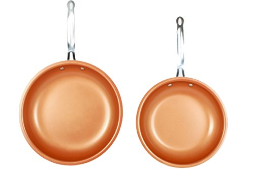 MasterPan Copper Pan 10 and 12 inch Round Pans 2-Pack