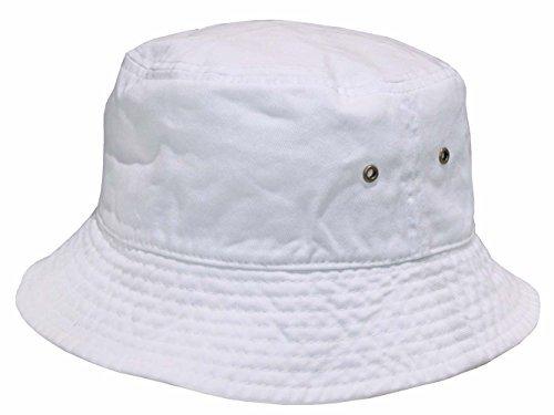 8ffbe2addbb589 Short Brim Visor Cotton Bucket Sun Hat White Small/Medium from Newhattan